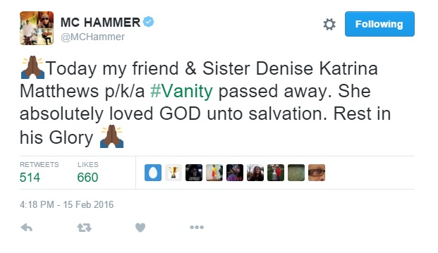 Friends say goodbye to Vanity Denise Mathews Dead