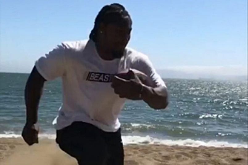 Marshawn Lynch Raiders Beach Workout