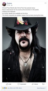 Vinnie Paul of Pantera Dead at 54
